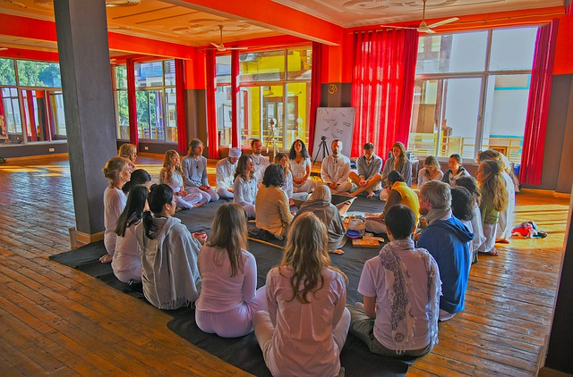 Group of people practicing Reiki