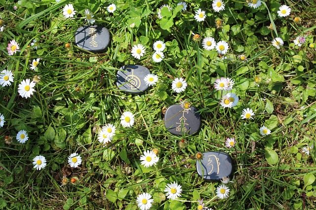 Reiki stones in nature